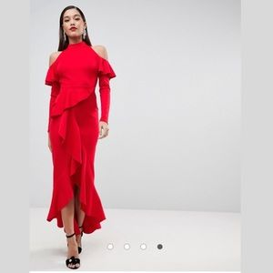 NWT ASOS Extreme Ruffle Open Back Maxi Red Dress 2